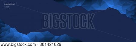 Vector Abstract Polygonal Classic Blue Background. Blue Geometric Shapes. Low Poly Style. Transition
