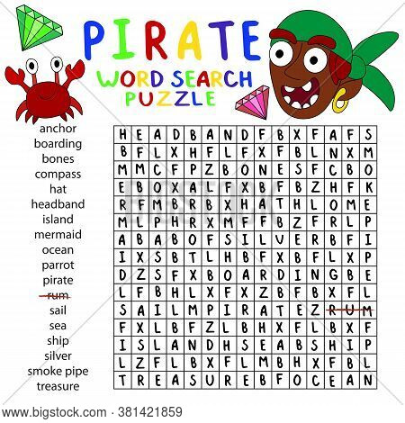 Pirate Word Search Puzzle Children Worksheet. English Word Search Puzzle With Crab, Pirate And Gems