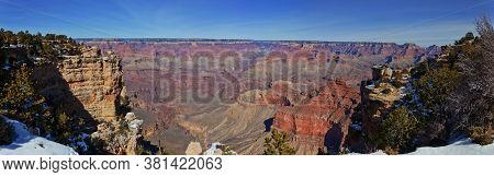 Panorama From The Grand Canyon South Side In Winter