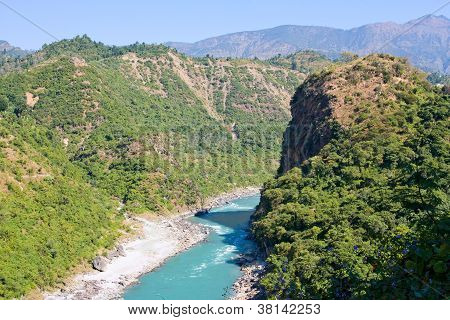 Ganges river in Himalayas mountains. Uttarakhand India. poster