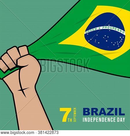 Brazil Flag In Hand Vector Illustration For Brazil Independence Day Design.