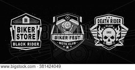 Set Of Motorcycle Labels, Badges, Logo.sports Insignia Emblem Set. Motorcycle Vintage Design.