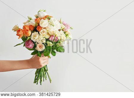 Child Boy With Bouquet Of Flowers. Mother's Day Greeting Card. Happy Mothers Day Frame Background. S