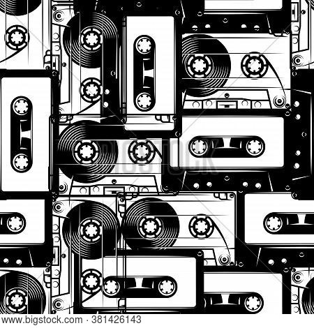 Retro Cassettes. Seamless Pattern In Retro Style. Monochrome Vector Illustration.