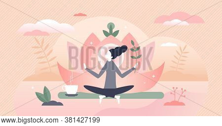 Holistic Healing Self Treatment With Peaceful Mediation Tiny Person Concept. Spiritual Therapy For B