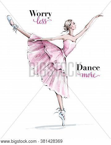 Hand Drawn Beautiful Dancing Woman. Pretty Ballerina. Girl In Blue Point Shoes. Ballerina In Pink Dr