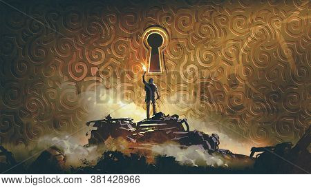 The Adventure Man With A Torch Standing And Looking At A Large Keyhole On The Brass Wall, Digital Ar