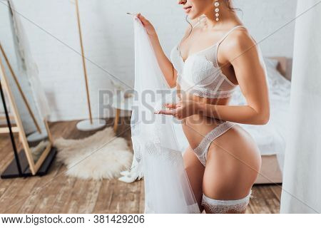 Cropped View Of Bride In Underwear And Garter Holding Veil In Bedroom
