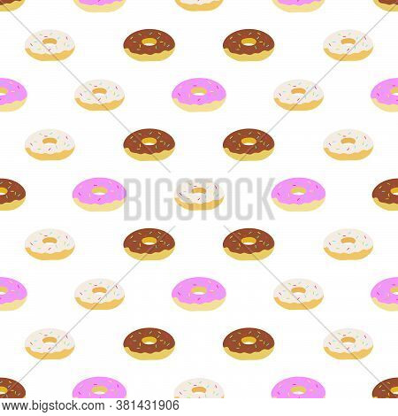 Vector Seamless Pattern Illustration Tasty Doughnuts. Delicious Sweet Donuts With Glaze And Sprinkle