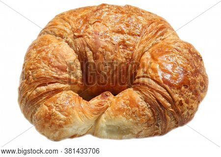 Croissant. Butter Croissant. Fresh Baked Croissant isolated on white. Room for text.