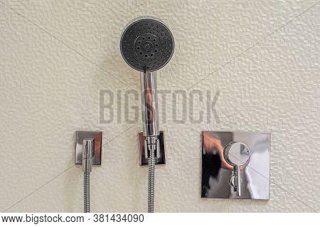 Shower Heads On White Ceramic Wall In Bathroom. Steel Shower Set. Chrome Plating Side Shower Set On
