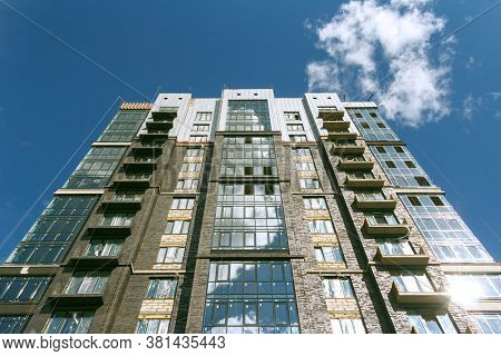 Izhevsk, Russia-august 11 2020: Construction Of High-rise House. Building Under Construction. Modern
