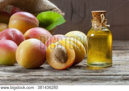Glass Bottle Of Apricot Seed Kernel Oil ( Prunus Armeniaca Oleum ) With Fresh Ripe Apricot Fruits On