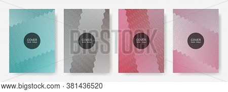 Zig Zag Lines Halftone Banner Templates Set, Gradient Stripes Texture Vector Backgrounds For   Cover
