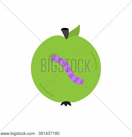 Rotten Apple Round Vector Illustration Icon. Scary, Spooky Halloween Circle Green Apple With Worm In