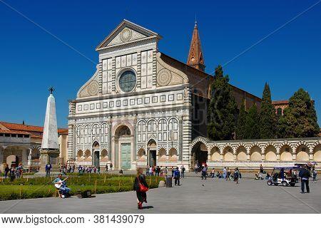 Florence, Italy - April 13: Tourists Visit The Beautiful Gothic And Renaissance Church Of Santa Mari