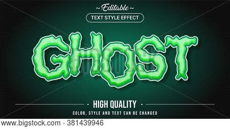 Editable Text Style Effect - Ghost Theme Style. Graphic Design Element.