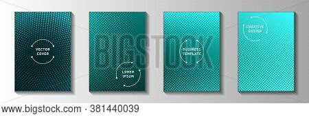 Decorative Point Faded Screen Tone Cover Page Templates Vector Collection. Digital Notebook Perforat