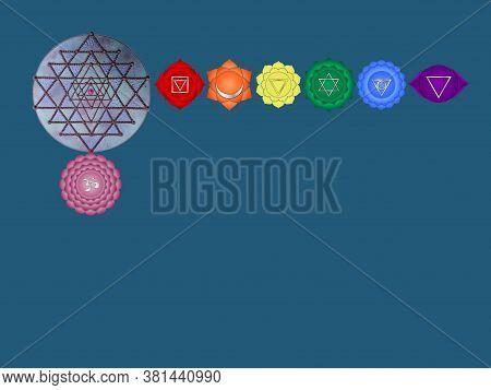 Spiritual Background For Meditation With Chakras, Life Tree, Sri Yantra, Buddha Statue And Mandala I