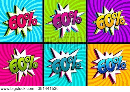 Comic Text 60 Percent Sale Set Discount. Colored Speech Bubble On Radial Background. Comics Book Exp