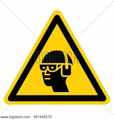 Warning Wear Chemical Goggles And Ear Muffs Symbol Sign ,vector Illustration, Isolate On White Backg