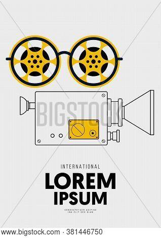 Movie And Film Poster Design Template Background Vintage Film Camera Outline. Design Element Can Be