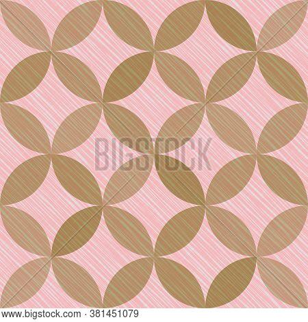 Interlacing Circles Parts Fairytale Seamless Vector Pattern. Guatrefoil Flower Brown Medieval Endles