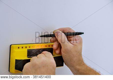 Digital Detector Man Hand Is Scanning Wall By Sensors Precision Stud Finder Wooden Beams