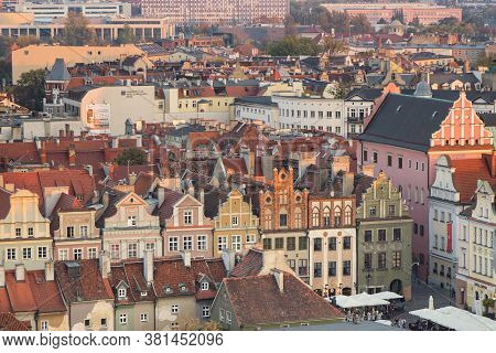 Poznan, Poland - October 12, 2018: Old And Modern Buildings At Sunset In Town Poznan, Greater Poland