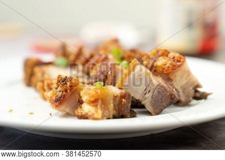 Oriental Roast Pork Belly Or Char Siew On White Plate