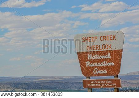 The Sign For Sheep Creek Overlook At Flaming Gorge National Recreation Area, Utah
