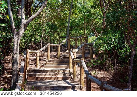 Stairs Leading Down To The Beach In A Bushland Setting Within An Australian National Park
