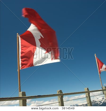 Canadian Flag On Top Of Whistler