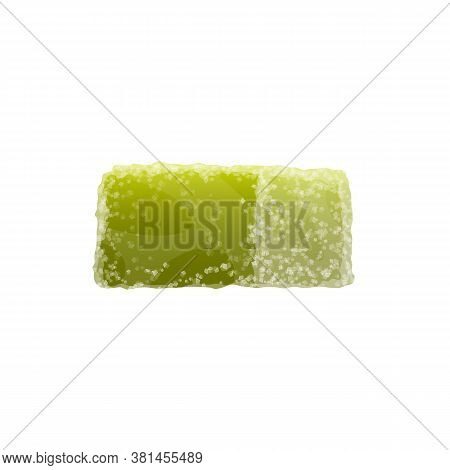 Marmalade Isolated Green Candied Fruit Jelly. Vector Apple Taste Candy With Sugar Sprinkles