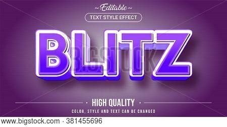 Editable Text Style Effect - Blitz Theme Style. Graphic Design Element.