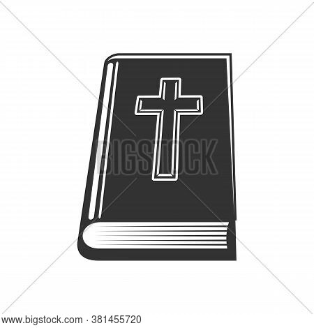 Christian Holy Book With Worships Isolated Bible. Vector Scripture With Worships, Christian Religion