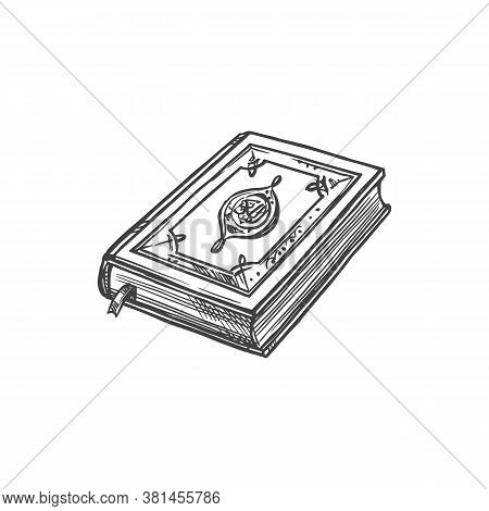 Holy Koran Or Quran Book Isolated Sketch. Vector Islam Religion, Arabic Calligraphy Islam Writing
