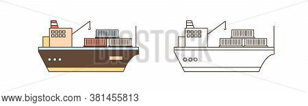 Colorful And Monochrome Icon Set Of Cargo Ships With Crane And Containers In Line Art Style. Sea Wat