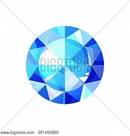 Swiss Topaz, Sapphire Cut Crystal Isolated. Vector Blue Diamond, Luxury Brilliant, Turquoise Gemston