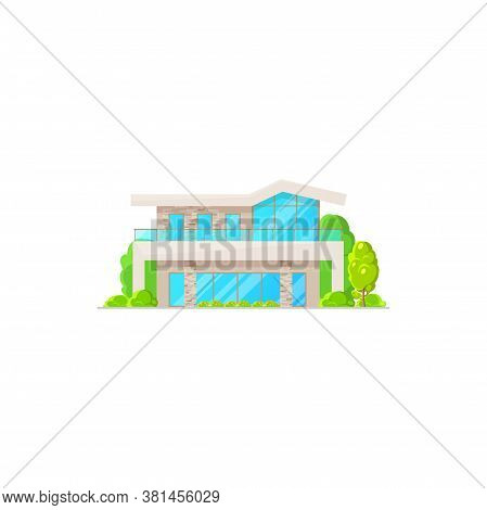 Urban Chalet, Dwelling Outdoor Facade And Trees In Garden Isolated. Vector Suburban House With Chimn