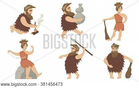 Promotive Cave People Set. Ancient Man And Woman Controlling Fire, Carrying Stones, Hunting With Spe