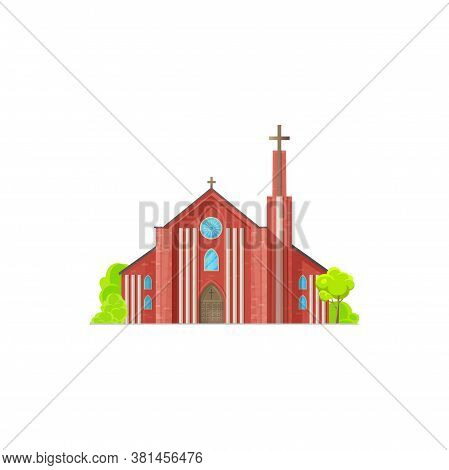 Christian Church Isolated Chapel Exterior With Trees. Vector Cathedral Or Monastery Facade, Catholic