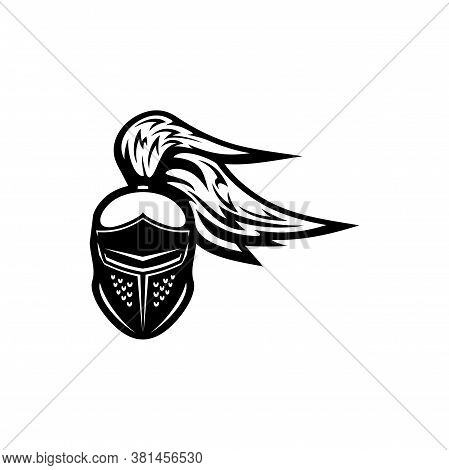 Gladiator Helmet With Plumes Isolated Monochrome Icon. Vector Crusader Headgear, Medieval Knight Hea