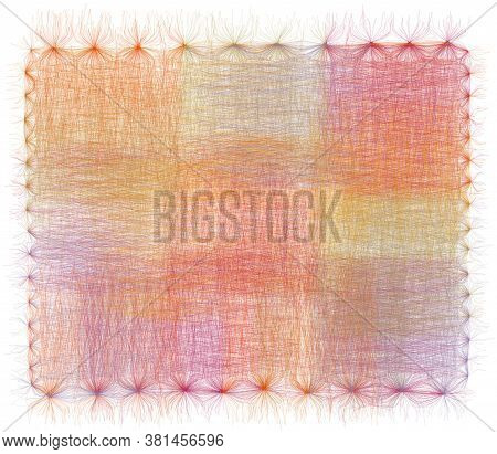 Decorative Colorful Vivid Grunge Striped Lacy Napkin, Serviette, Carpet, Tapestry Witn Fringe Isolat
