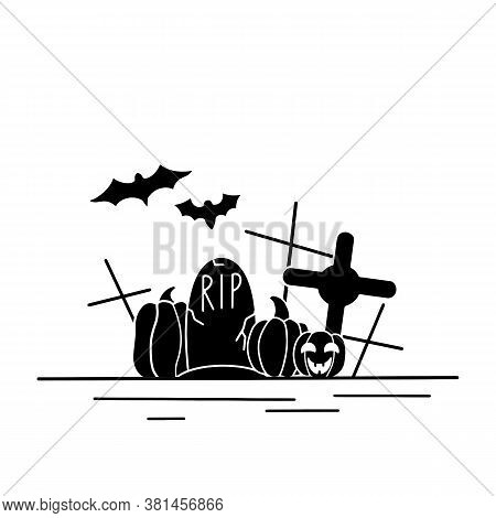 Festive Illustration With Black Halloween Silhouette. Contour Bats, Pumpkin, Lantern, Headstone And