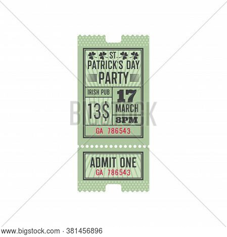 Irish Pub Entry Ticket Template Isolated Template Of Invitation On Saint Patricks Day Holiday. Vecto