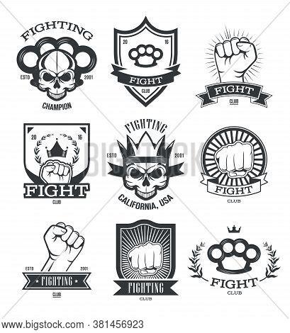 Gangsta Tattoo Flat Emblems Set. Street Gang Member And Gangster Patches With Skull, Gun, Fist Or Kn