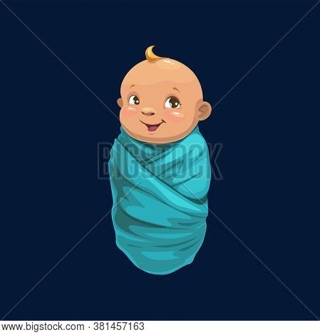 Newborn Boy In Blue Wrap Isolated Baby Shower Symbol. Vector Young Human Child Wrapped In Blanket, I