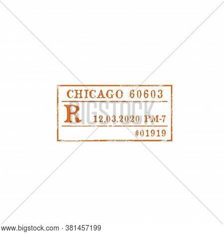 Chicago Postage Stamp Isolated Express Delivery Sign. Vector Vintage Rectangular Sign Of Post Office