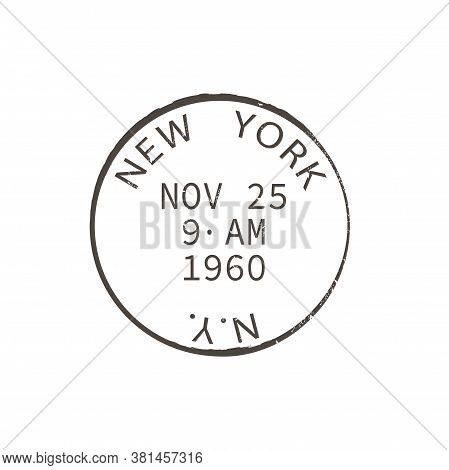 New York Post Stamp Isolated Round Postmark. Vector Ny City Post Office Sign, American Correspondenc